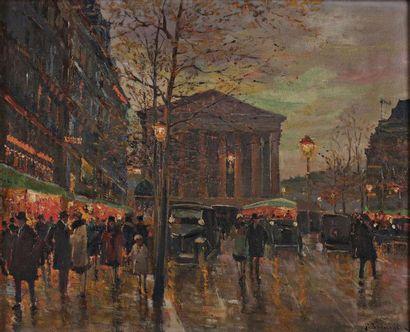 Paul Justin Marcel BALMIGERE (Candies 1882 -? 1955) La place de la Madeleine de nuit...