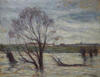 Maximilien LUCE (Paris 1858 - Rolleboise 1941) L'inondation Huile sur carton marouflé...