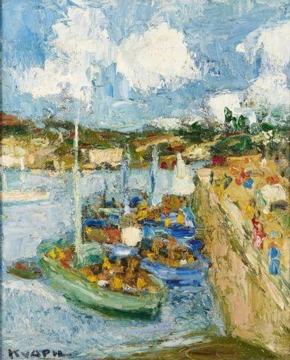 Charles KVAPIL (Anvers 1884 - Paris 1957) Le port Huile sur toile 46 x 38,5 cm Signé...