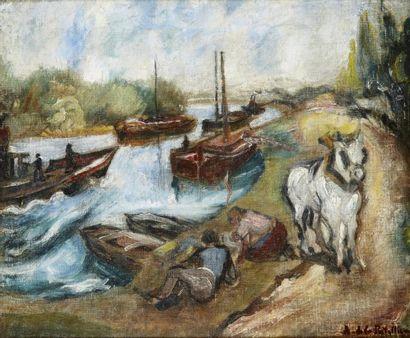 Amédée de LA PATELLIERE (1890 - 1932) Couple en bord de rivière Huile sur toile marouflée...