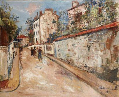 Maurice UTRILLO (Paris 1883-Dax 1955) Rue Norvins à Montmartre Huile sur toile 60...