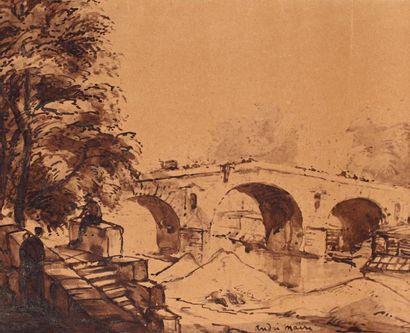 André MAIRE (Paris 1898-1985) Le pont neuf Encre et lavis d'encre brune sur papier...