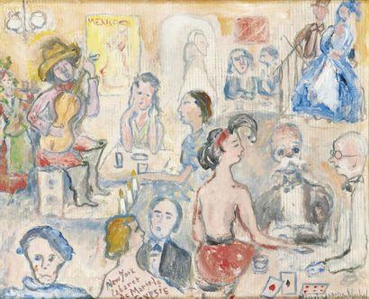 Michel GEORGES-MICHEL (Paris 1883-1985) New York cabaret Huile sur papier marouflé...