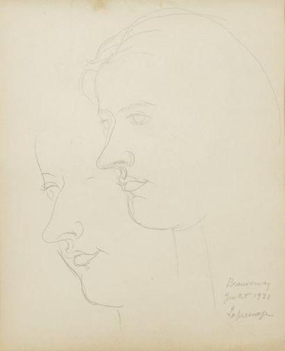 ROGER DE LA FRESNAYE (1885 - 1925) Portrait du peintre Irène Lagut, 1921 Crayon sur...