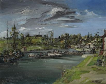 Francis GRUBER (Nancy 1912 - Paris 1948) L'écluse, 1942 Huile sur toile 81 x 100...