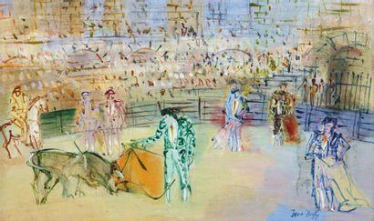 Jean DUFY (Havre 1888- Boussay1964) Corrida espagnole Huile sur toile 33 x 55 cm...