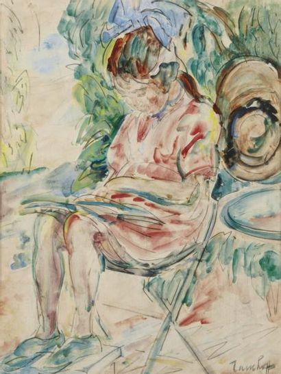 Nicholai TARKHOFF (Moscou 1871 - Orsay 1930) Jeune fille à la lecture Aquarelle sur...