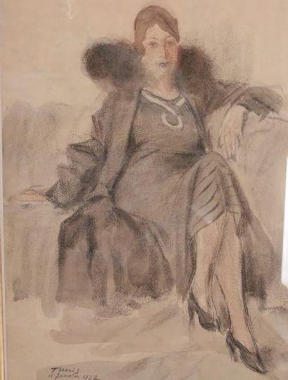 Alexandre ROUBTZOFF (Saint Petersbourg 1884 - Tunis 1949) Femme assise dans un fauteuil...