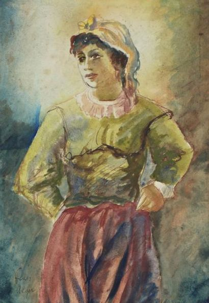 Adolphe FEDER (Odessa 1886-France 1943) Jeune femme Aquarelle sur traits de crayon...