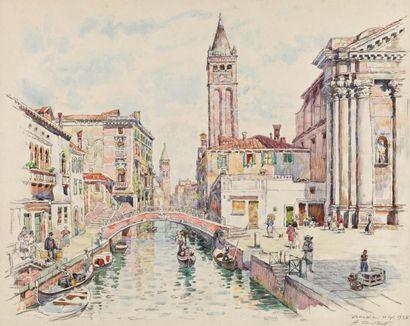 Alexandre ROUBTZOFF (Saint Petersbourg 1884 - Tunis 1949) Venise Aquarelle et traits...