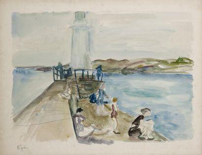 Henri EPSTEIN (1892 - 1944) Phare Aquarelle et traits de crayon sur papier 48,5 x...