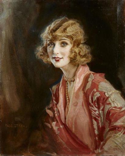Tadeusz STYKA (Kielce 1889 - New York 1954) Portrait de femme Huile sur toile 81...