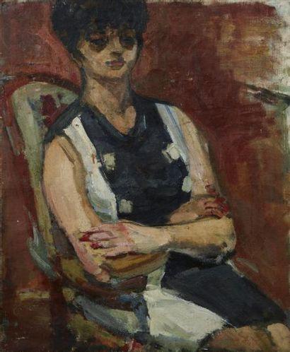 Zygmunt SCHRETER (Lodz 1896 - 1977) Femme assise Huile sur toile 56 x 46 cm Signé...
