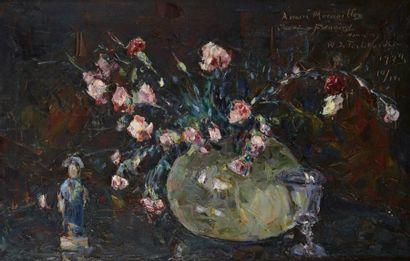 Wladimir de TERLIKOWSKI (Poraj 1873-Paris 1951) Nature morte au bouquet de fleurs...