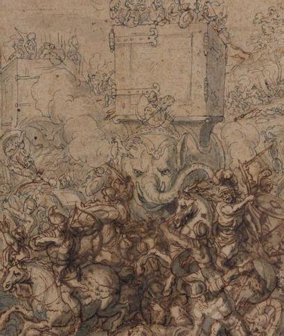 Attribué à Antoine DIEU (Paris 1662 -1727) Les éléphants d'Hannibal chargeant une...
