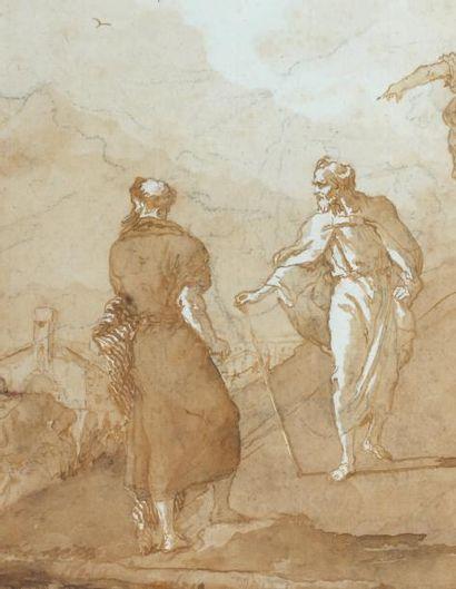Giovanni Domenico TIEPOLO (Venise 1727-1804) Saint Pierre sur la route de Joppé Plume...