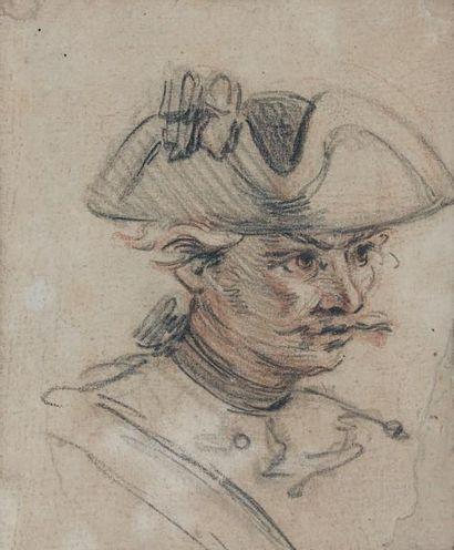 CHARLES PARROCEL (PARIS 1688 - 1752) Militaire au tricorne Deux crayons 11,5 x 14...
