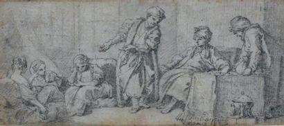 François BOUCHER (Paris 1703 - 1770) Le marchand d'esclaves Crayon noir sur vélin...