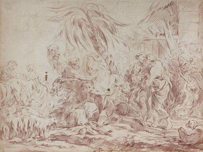 François BOUCHER (Paris 1703 - 1770) La rencontre de Jacob et Laban Sanguine 41 x...