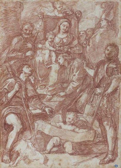 Jean-Robert ANGO (? - Rome 1773) Vierge à l'enfant adorée par une assemblée de saints,...