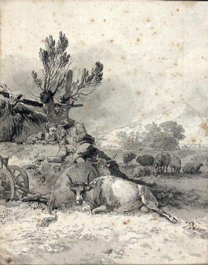 Jean-Jacques de BOISSIEU (Lyon 1736 - 1810) Deux jeunes pâtres regardant des vaches...