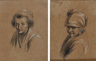 Attribué à Jean-Jacques de BOISSIEU (Lyon 1736 - 1810) Deux portraits de femme sur...