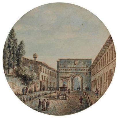 VICTOR-JEAN NICOLLE (Paris 1754 - 1826) Vue animée d'une porte à Rome Aquarelle,...