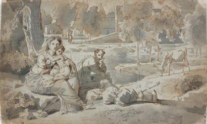 François Xavier FABRE (Montpellier 1766 - 1837) Repos de la Sainte Famille pendant...