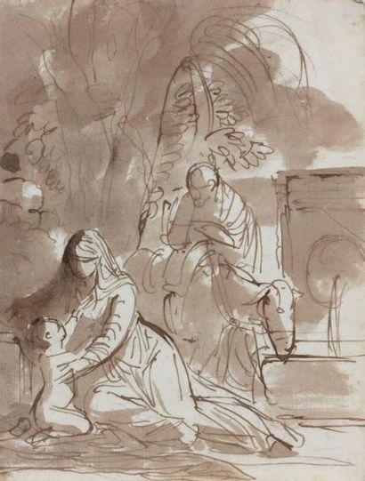 Attribué à Felice GIANI (San Sebastiano Curone 1758 - Rome 1823) La fuite en Egypte...