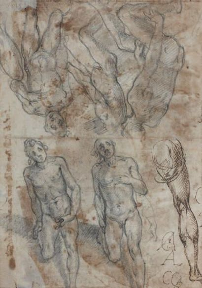 Alessandro CASOLANI (Sienne 1552 - 1606) Recto: Annonciation Verso: étude d'hommes...