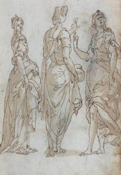 Attribué à Bernardo CASTELLO (Gênes 1557 - 1629) Recto: Persée délivrant Andromède...