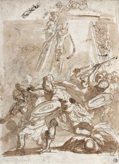 Ecole génoise du XVII e siècle Combat au pied d'une tour Plume et encre brune, lavis...