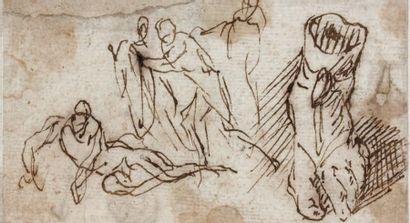 Attribué à Salvator ROSA (Arenella 1615 - Rome 1673) Feuille d'étude avec personnages...