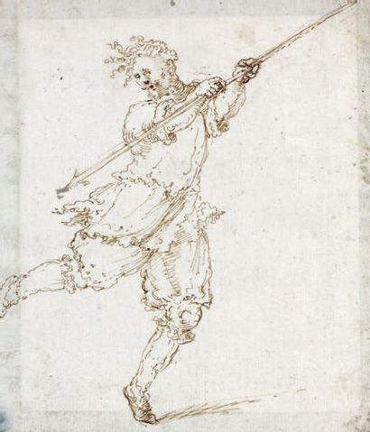 Attribué à Stefano della BELLA (Florence 1670-1664) Hallebardier Plume et encre brune...