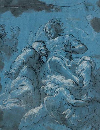 Giuseppe PASSERI (Rome 1654 - 1714) Etude plafonnante avec le Christ adoré par un...