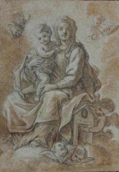 Attribué à Paolo de MATT EIS (Naples 1662 - 1728) Vierge à l'enfant Crayon noir,...