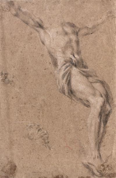 École ITALIENNE vers 1700 Feuille d'étude recto verso Recto: un moine agenouillé...