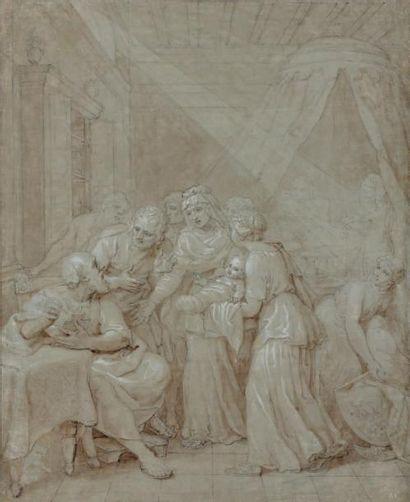 Jacques STELLA (Lyon 1596 - Paris 1657) La naissance de Jean-Baptiste Plume et encre...