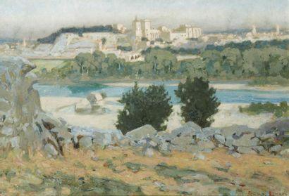 Marius ROUX-RENARD (Orange 1870 - Avignon 1936) Avignon Huile sur toile 35 x 60 cm...