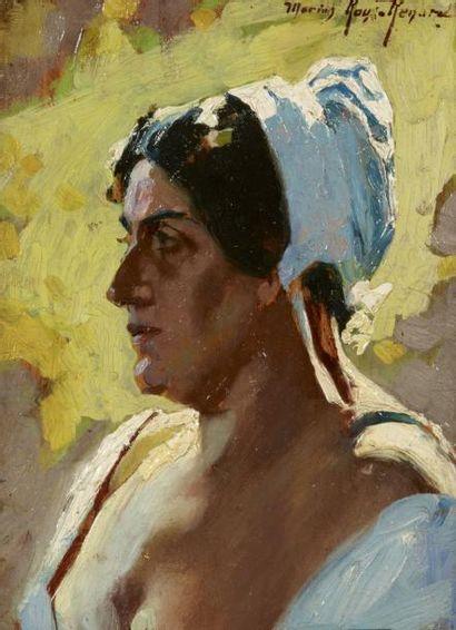 Marius ROUX-RENARD (Orange 1870 - Avignon 1936) Portrait d'Isodorine Huile sur panneau...
