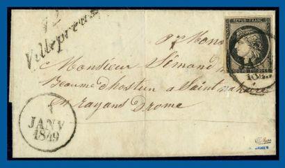 N°3 sur lettre oblitéré du cachet dateur...