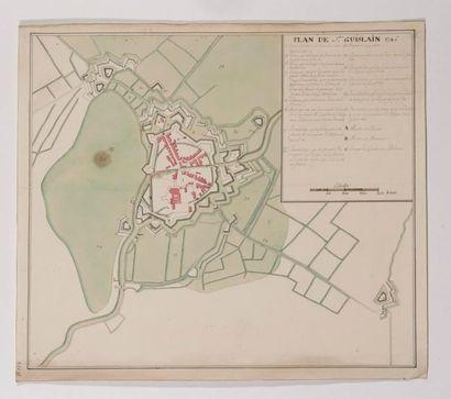 Ecole Française du XVIIIème siècle Plan de Saint Guislain, 1746 Aquarelle, plume...