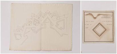 Ecole Française du XVIIIème siècle Plan d?une des redoutes de Maëstricht, 1748 Aquarelle,...