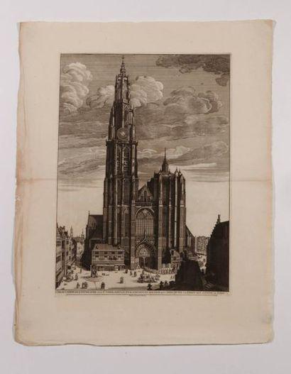Vue de la cathédrale d'Anvers, gravée en...