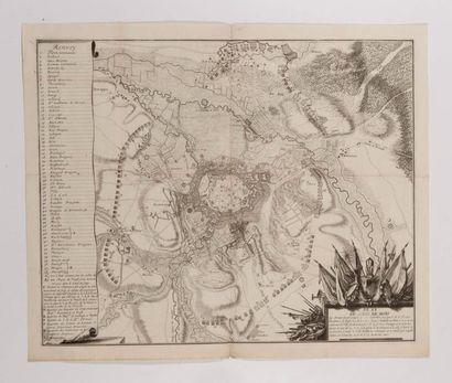 Plan du siège de Mons, gravé en taille-douce....