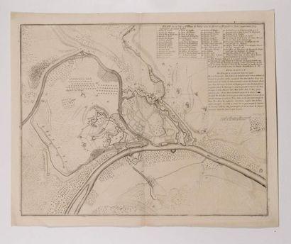 Plan de Namur, gravé en taille-douce. S.I.,[vers 1709]; in-plano replié 44 x 55...