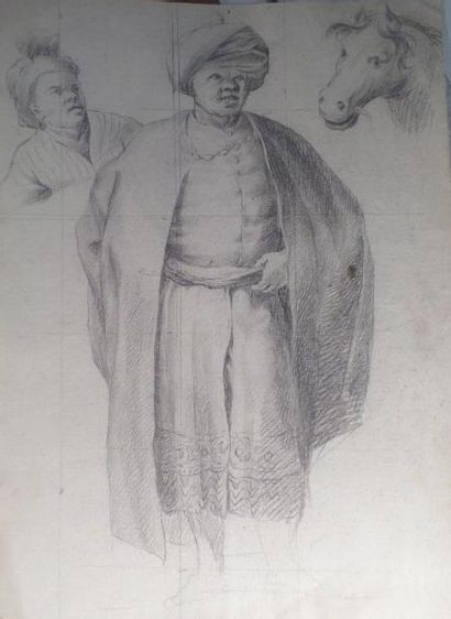 Ecole française de la fin du XVIIe Personnage au turban, tête de serviteur et tête...