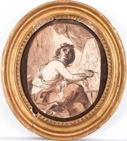 Ecole italienne du XVIIIème siècle, entourage de GANDOLFI Allégorie de la peinture...