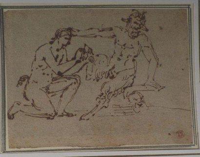 ÉCOLE ITALIENNE DU XVIIIÈME SIÈCLE Etude avec un satyre se faisant soigner la patte...