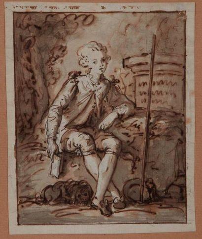École FRANÇAISE du XVIIIe siècle Portrait de jeune homme assis tenant un livre Plume...